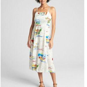 Gap fit & flare map print cami midi dress